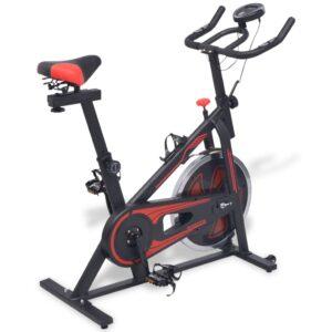 Bicicleta de spinning c/ sensores de pulso, preto e vermelho - PORTES GRÁTIS