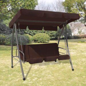 Cadeira de baloiço para jardim com toldo, café - PORTES GRÁTIS