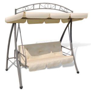 Cadeira de baloiço para jardim com toldo, branco areia - PORTES GRÁTIS
