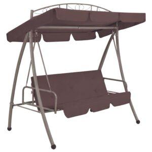 Cadeira de baloiço para jardim com toldo castanho café - PORTES GRÁTIS