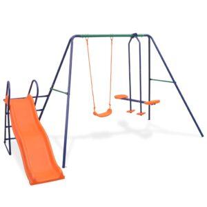 Conjunto de baloiços com escorrega e 3 assentos laranja - PORTES GRÁTIS