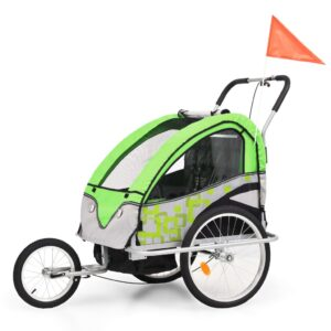 Atrelado bicicleta/carrinho infantil 2-em-1 verde e cinzento - PORTES GRÁTIS