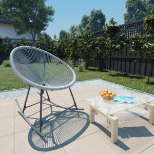 Cadeira de baloiço lua de jardim vime PE cinzento - PORTES GRÁTIS