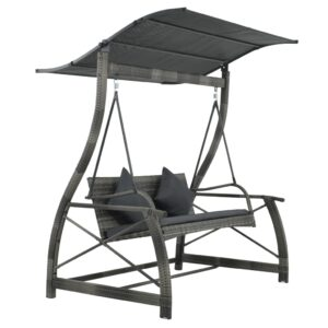 Cadeira de baloiçar p/ jardim vime PE cinzento 167x130x178 cm  - PORTES GRÁTIS