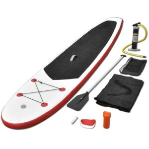 Conjunto prancha de paddle SUP insuflável vermelho e branco - PORTES GRÁTIS