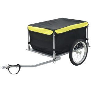 Reboque de carga para bicicleta preto e amarelo 65 kg - PORTES GRÁTIS
