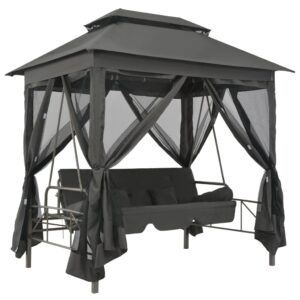 Cadeira baloiço jardim com toldo 220x160x240 cm aço antracite  - PORTES GRÁTIS
