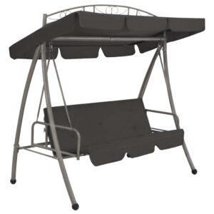 Cadeira baloiço jardim com toldo 198x120x205 cm aço antracite   - PORTES GRÁTIS