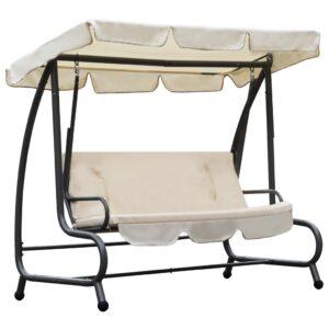 Cadeira de baloiço para exterior com toldo branco areia - PORTES GRÁTIS
