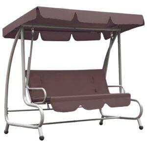 Cadeira de baloiço para exterior com toldo castanho café - PORTES GRÁTIS