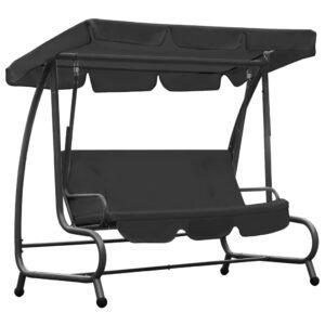 Cadeira de baloiço para exterior com toldo antracite - PORTES GRÁTIS