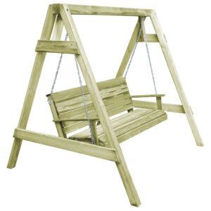 Cadeira de baloiço de jardim pinho impregnado 215x171x180 cm - PORTES GRÁTIS
