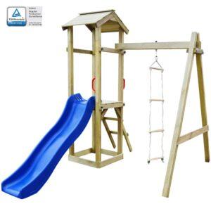 Casa brincar c/ escorrega e escadas 237x168x218 cm madeira FSC - PORTES GRÁTIS