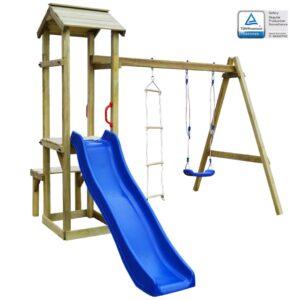 Casa brincar escorrega baloiço escada 238x228x218cm madeira FSC - PORTES GRÁTIS