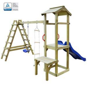 Casa com escorrega, escadas e baloiço 286x228x218cm madeira FSC - PORTES GRÁTIS