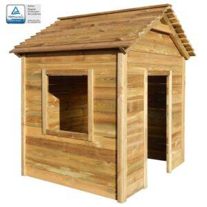 Casa de brincar de exterior 123x120x146 cm madeira de pinho FSC - PORTES GRÁTIS