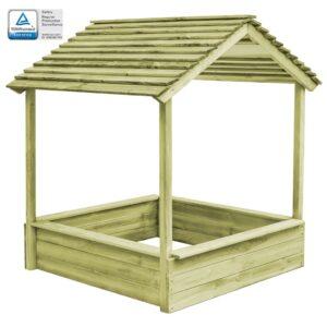 Casa de brincar exterior c/ caixa areia 123x120x145cm pinho FSC - PORTES GRÁTIS