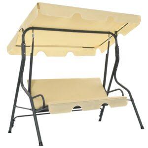 Cadeira de baloiço para jardim 170x110x153 cm branco nata - PORTES GRÁTIS