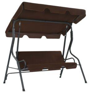 Cadeira de baloiço para jardim 170x110x153 cm castanho café - PORTES GRÁTIS