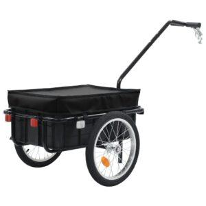 Reboque carga p/ bicicleta/carroça de mão 155x61x83cm aço preto - PORTES GRÁTIS