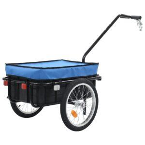 Reboque carga p/ bicicleta/carroça de mão 155x61x83 cm aço azul - PORTES GRÁTIS