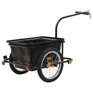 Reboque de carga para bicicleta preto 50 L - PORTES GRÁTIS