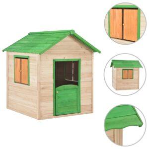Casinha de brincar para crianças madeira verde - PORTES GRÁTIS