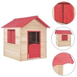 Casinha de brincar para crianças madeira vermelho - PORTES GRÁTIS