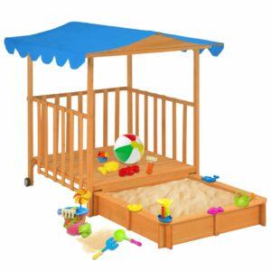 Casa de brincar infantil com caixa de areia madeira azul UV50 - PORTES GRÁTIS
