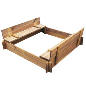 Caixa de areia em madeira impregnada FSC quadrada  - PORTES GRÁTIS