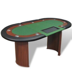 Mesa poker 10 jogadores c/ área crupiê e tabuleiro fichas verde  - PORTES GRÁTIS