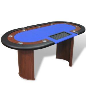 Mesa poker 10 jogadores c/ área crupiê e tabuleiro fichas azul  - PORTES GRÁTIS