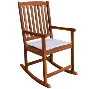 Cadeira de baloiço para jardim de madeira de acácia - PORTES GRÁTIS
