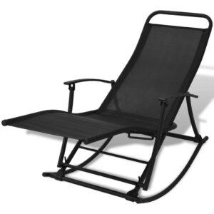 Cadeira de baloiço jardim aço e textilene preto - PORTES GRÁTIS