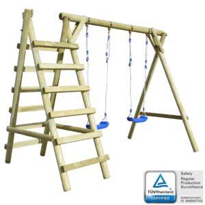 Conjunto baloiço com escada 268x154x210 cm pinho FSC - PORTES GRÁTIS