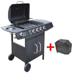 Grelhador/barbecue a gás 4+1 queimadores preto - PORTES GRÁTIS