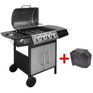 Grelhador/barbecue a gás 4+1 zonas de cozinhar preto/prateado - PORTES GRÁTIS