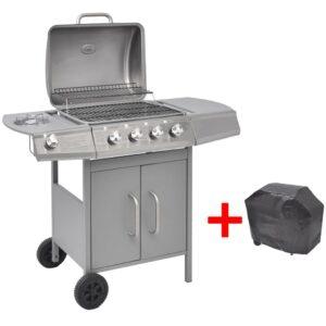Grelhador/barbecue a gás 4+1 queimadores prateado - PORTES GRÁTIS