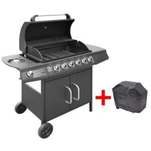 Grelhador/barbecue a gás 6+1 queimadores preto - PORTES GRÁTIS