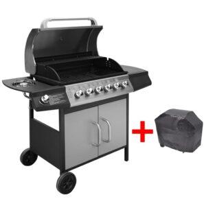 Grelhador/barbecue a gás 6+1 queimadores preto/prateado - PORTES GRÁTIS