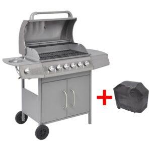 Grelhador/barbecue a gás 6+1 queimadores prateado - PORTES GRÁTIS