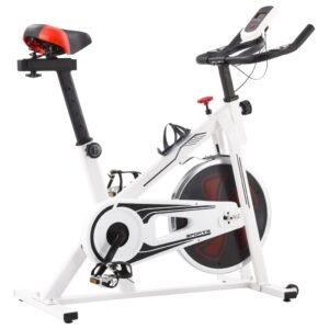Bicicleta de spinning c/ sensores de pulso branco e vermelho - PORTES GRÁTIS