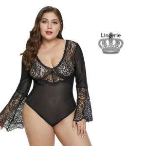Queen Lingerie Body Teddy Plus Size Preto   Tamanho XL