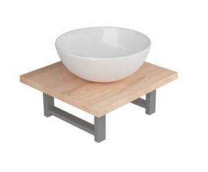 Conjunto de móveis de casa banho 2 peças cerâmica cor carvalho - PORTES GRÁTIS