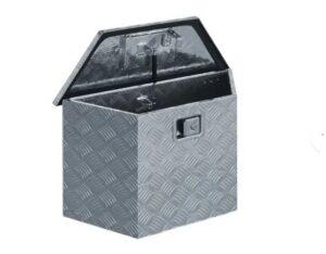 Caixa de alumínio 70x24x42 cm trapezoidal prateado - PORTES GRÁTIS