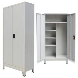 Armário de escritório com 2 portas aço 90x40x180 cm cinzento - PORTES GRÁTIS