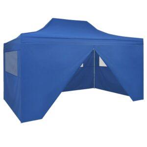 Tenda pop-up dobrável com 4 paredes laterais 3x4,5 m azul - PORTES GRÁTIS