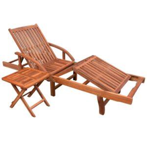 Espreguiçadeira com mesa madeira acácia maciça - PORTES GRÁTIS