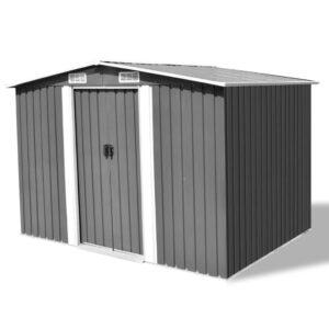 Abrigo de jardim metal cinzento 257x205x178 cm - PORTES GRÁTIS