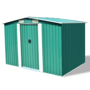 Abrigo de jardim metal verde 257x205x178 cm - PORTES GRÁTIS